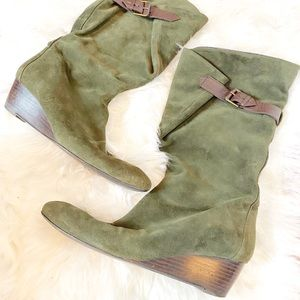 Nine West Green Suede Slouch Boot with Buckle
